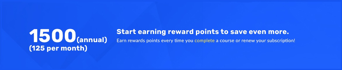Start earning points to save even more. Earn points everytime your subscription renews, or when you compelte a course.